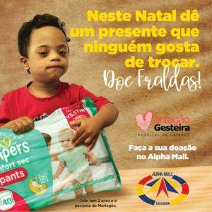 Campanha no AlphaMall arrecada fraldas para o Martagão