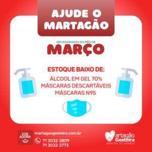 Martagão inclui máscaras e álcool em gel 70% na sua lista de doações