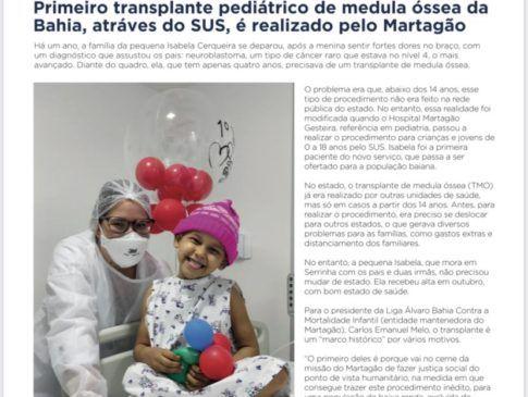 Programa de Transplante de Medula Óssea do Martagão é destaque do Jornal da Liga 2020.2